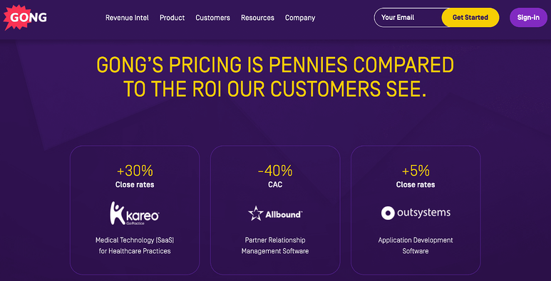 best-saas-pricing-pages-gong
