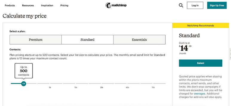 best-saas-pricing-pages-mailchimp