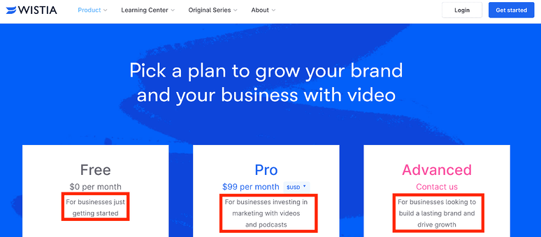 best-saas-pricing-pages-wistia