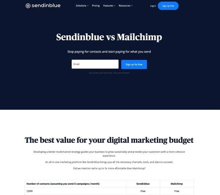 competitive-comparison-landing-page-example-sendinblue