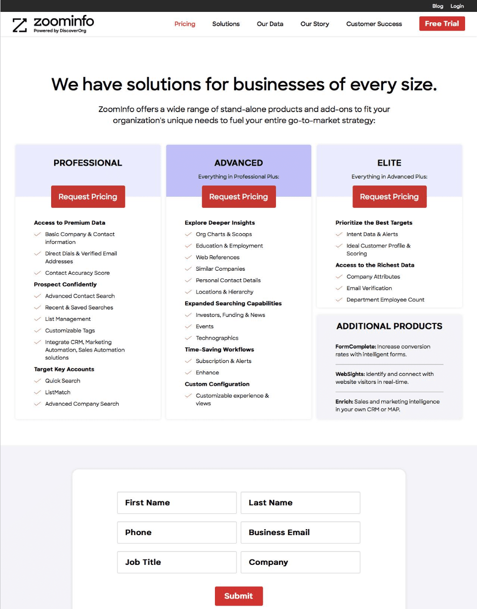 pricing-page-tactics-zoominfo