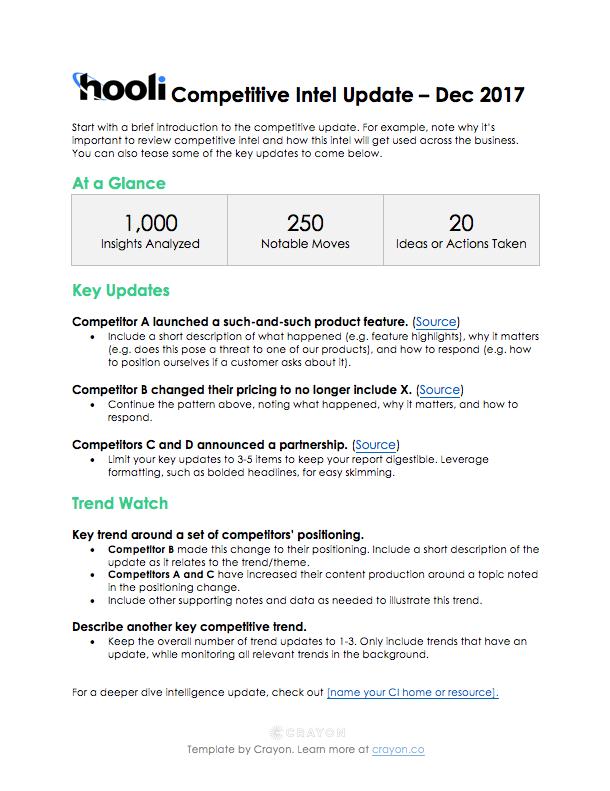 Compeive Intel Update Executive Summary